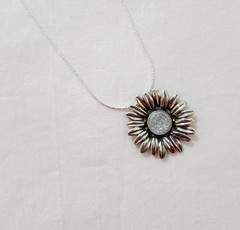 Fair Trade Sterling and Druzy Quartz Pendant from Israel