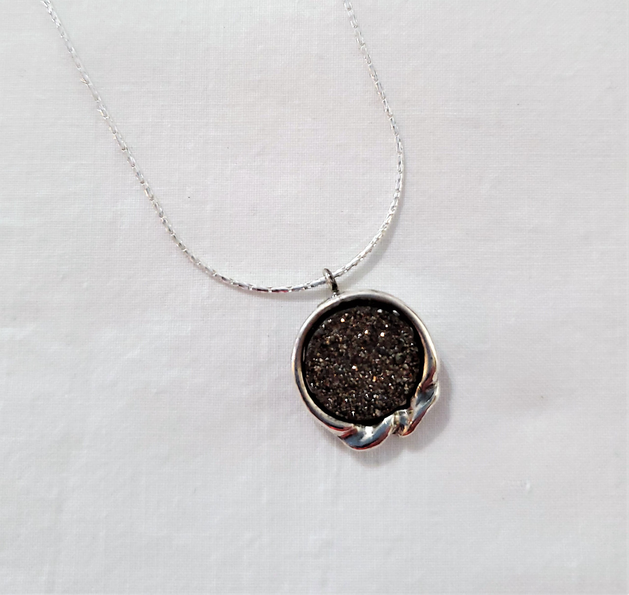 Sterling Silver and Charcoal Druzy Quartz Pendant with Ribbon Necklace