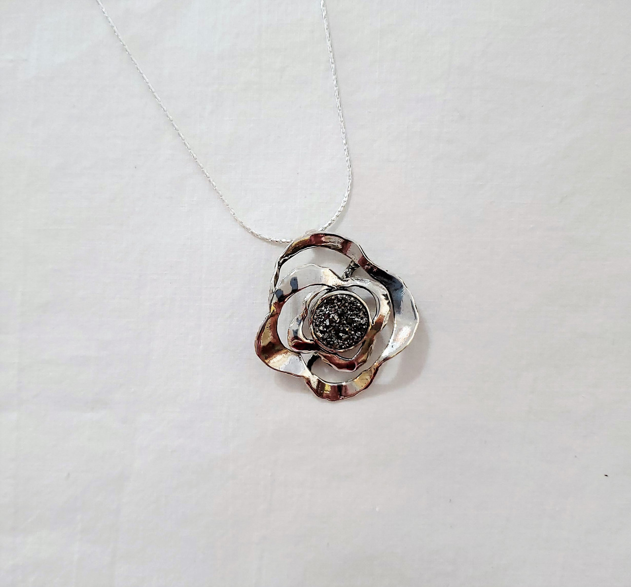 Sterling Silver Ribbon Play & Charcoal Druzy Quartz Pendant Necklace