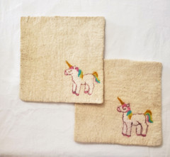 Fair Trade Needle Felted Wool Square Trivet / Potholder with Pink Unicorn from Kyrgyzstan