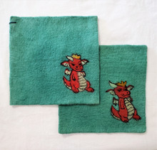 Fair Trade Needle Felted Wool Square Trivet / Potholder with Red Dragon from Kyrgyzstan