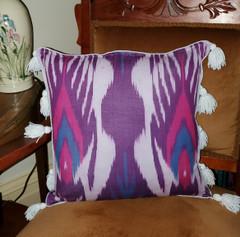 Fair Trade Cotton Adras Fabric Pillow from Kyrgyzstan