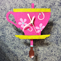 Fair Trade Recycled Metal Teacup Clock from Colombia