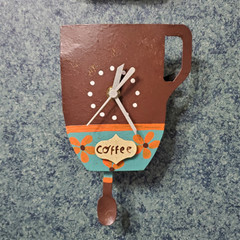 Fair Trade Recycled Metal Coffee Mug Clock from Colombia