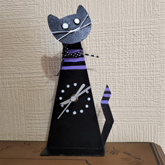 Fair Trade Recycled Metal Cat Table Clock from Colombia