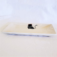 Fair Trade Ceramic Cat Plate from Vietnam