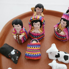 Fair Trade 12 pc Terracotta and Woven Fabric Nativity from Guatemala
