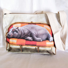 Fair Trade Sling Purse from South Africa with Lounging Hippo