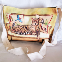 Fair Trade Sling Purse from South Africa with Lounging Cheetah