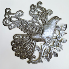 Fair Trade Recycled Steel Drum Dove in Flight Wall Art from Haiti
