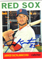JARROD SALTALAMACCHIA BOSTON RED SOX AUTOGRAPHED BASEBALL CARD #100213G