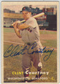 CLINT COURTNEY WASHINGTON SENATORS AUTOGRAPHED VINTAGE BASEBALL CARD #100413C