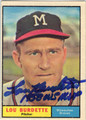 LEW BURDETTE MILWAUKEE BRAVES AUTOGRAPHED VINTAGE BASEBALL CARD #10114F