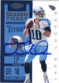 JAKE LOCKER TENNESSEE TITANS AUTOGRAPHED FOOTBALL CARD #101213F