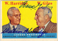 WILLIAM HARRIDGE & WARREN GILES AMERICAN & NATIONAL LEAGUE PRESIDENTS DOUBLE AUTOGRAPHED VINTAGE BASEBALL CARD #101713G