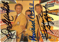 DON MEREDITH, HOWARD COSELL & FRANK GIFFORD TRIPLE AUTOGRAPHED MONDAY NIGHT FOOTBALL SPORTCASTERS TRIPLE AUTOGRAPHED FOOTBALL CARD #101911G
