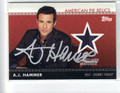 A.J. HAMMER AUTOGRAPHED PIECE OF THE GAME WORN MEMORABILIA CARD #101912E