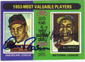 AL ROSEN & ROY CAMPANELLA CLEVELAND INDIANS & BROOKLYN DODGERS DOUBLE AUTOGRAPHED VINTAGE BASEBALL CARD #102713A
