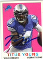 TITUS YOUNG DETROIT LIONS AUTOGRAPHED FOOTBALL CARD #102813E