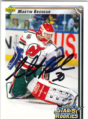 reputable site 63dca 8a07a MARTIN BRODEUR NEW JERSEY DEVILS GOALTENDER AUTOGRAPHED HOCKEY CARD #102413i