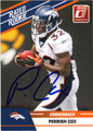 PERRISH COX DENVER BRONCOS AUTOGRAPHED ROOKIE FOOTBALL CARD #10413E