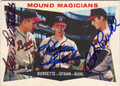 LEW BURDETTE, WARREN SPAHN & BOB BUHL MILWAUKEE BRAVES TRIPLE AUTOGRAPHED VINTAGE BASEBALL CARD #10514Q