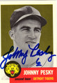 JOHNNY PESKY DETROIT TIGERS AUTOGRAPHED BASEBALL CARD #10813F