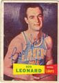 BOB LEONARD AUTOGRAPHED VINTAGE ROOKIE BASKETBALL CARD #111512F