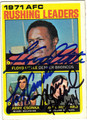 FLOYD LITTLE, LARRY CSONKA & MARV HUBBARD TRIPLE AUTOGRAPHED VINTAGE FOOTBALL CARD #112711Q