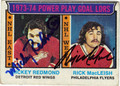 MICKEY REDMOND & RICK MacLEISH DOUBLE AUTOGRAPHED VINTAGE HOCKEY CARD #120111R