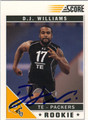 DJ WILLIAMS AUTOGRAPHED ROOKIE FOOTBALL CARD #120411i
