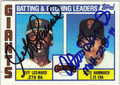 JEFF LEONARD & ATLEE HAMMAKER SAN FRANCISCO GIANTS DOUBLE AUTOGRAPHED VINTAGE BASEBALL CARD #120513C