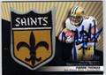 PIERRE THOMAS AUTOGRAPHED PIECE OF THE GAME FOOTBALL CARD #120712F