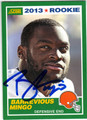 BARKEVIOUS MINGO CLEVELAND BROWNS AUTOGRAPHED ROOKIE FOOTBALL CARD #120913D