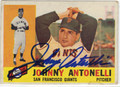 JOHNNY ANTONELLI SAN FRANCISCO GIANTS AUTOGRAPHED VINTAGE BASEBALL CARD #121013L