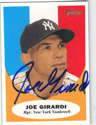 Joe Girardi Autographed Baseball Card 121112g
