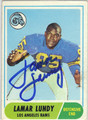 LAMAR LUNDY LOS ANGELES RAMS AUTOGRAPHED VINTAGE FOOTBALL CARD #121113D