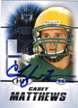 CASEY MATTHEWS AUTOGRAPHED ROOKIE FOOTBALL CARD #121312i