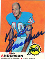 DICK ANDERSON AUTOGRAPHED VINTAGE FOOTBALL CARD #123011O