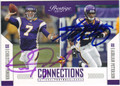 CHRISTIAN PONDER & ADRIAN PETERSON DOUBLE AUTOGRAPHED FOOTBALL CARD #123112A