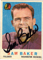 SAM BAKER AUTOGRAPHED VINTAGE WASHINGTON REDSKINS FOOTBALL CARD #123112M