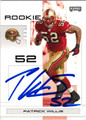PATRICK WILLIS SAN FRANCISCO 49ers AUTOGRAPHED ROOKIE FOOTBALL CARD #12613H