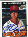 CARL YASTRZEMSKI BOSTON RED SOX AUTOGRAPHED BASEBALL CARD #12913G