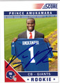 PRINCE AMUKAMARA AUTOGRAPHED ROOKIE FOOTBALL CARD #20612K