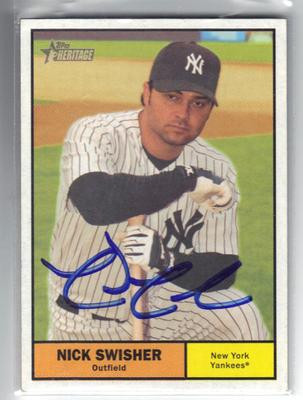Nick Swisher New York Yankees Autographed Baseball Card 22313d