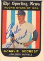 CHARLIE SECREST AUTOGRAPHED ROOKIE BASEBALL CARD #30412P