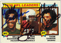 WILLIE BUCHANON, KEN STONE & THOM DARDEN TRIPLE AUTOGRAPHED VINTAGE FOOTBALL CARD #30812Z