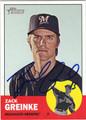 ZACK GREINKE MILWAUKEE BREWERS AUTOGRAPHED BASEBALL CARD #30913H