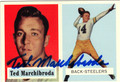 TED MARCHIBRODA AUTOGRAPHED FOOTBALL CARD #31412L