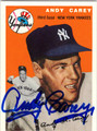 ANDY CAREY NEW YORK YANKEES THIRD BASE AUTOGRAPHED BASEBALL CARD #32713G